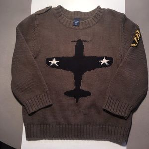 Gap Toddler 3T Olive Airplane Knit Sweater